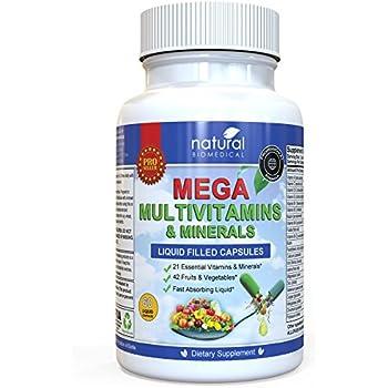 MEGA MULTIVITAMIN Multi-Vitamins & Minerals Supplement. Everyday Liquid Multivitamins Capsules for Adult Men & Women Daily Health.