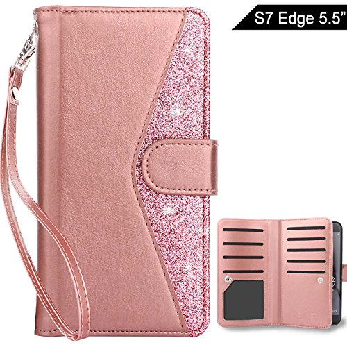 Dailylux Galaxy S7 Edge Case, Premium PU Leather TPU Inner shell Flip Wallet Case With 9 Card Slot and Wrist Strap Shouckproof Cover for Samsung Galaxy S7 Edge -Bling Rose Gold