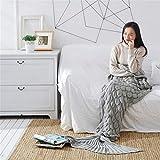 L-APZRIER 2Sizes Mermaid Tail Blanket Yarn Knitted Handmade Crochet Mermaid Blanket Kids Throw Bed Wrap Super Soft Sleeping Bed Gray 195x90cm