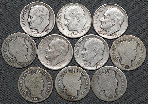 1892-1964 US Silver Dimes, (5) Barber & (5) Roosevelt 10C, 10 Coins ()