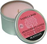 Vanilla Rose Aromatherapy Candle-made with 100% pure essential oils - 6oz tin