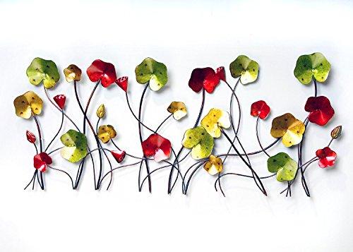 """Urbanest Poppy Flowers Metal 3d Wall Art Decor and Sculpture, 39"""" Width, 18"""" Height"""