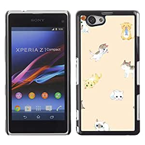 All Phone Most Case / Hard PC Metal piece Shell Slim Cover Protective Case Carcasa Funda Caso de protección para Sony Xperia Z1 Compact D5503 cute kittens peach cat yellow kids pet