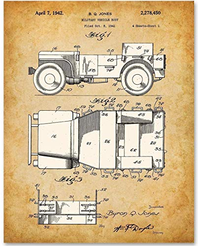 Vintage Willys Jeep - 11x14 Unframed Patent Print - Makes a Great Gift Under $15 for Jeep Owners