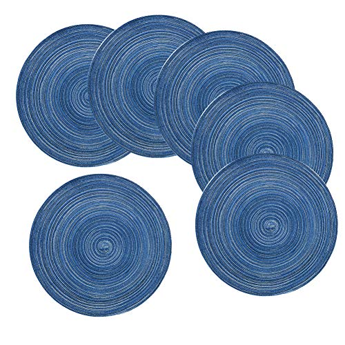 - REMEE Round Placemat 14.2 Inch Braid Woven Placemat or Charger for Party Wedding,Washable Kitchen Table Mats,Set of 6(Blue)