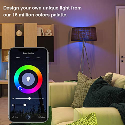 ELECWISH Smart LED Light Bulb Work with Alexa and Google Home A19 E26 9W 806lm Multicolor 2.4 GHz WiFi Dimmable Lights Bulbs Equivalent RGB Color Changing Bulb (1 Pack)