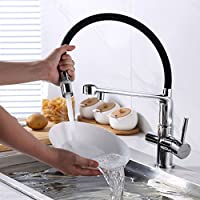 Gappo contemporain Pull Out Pulv/érisateur /à double fonction 3/en 1/purificateur deau pour robinet d/évier de cuisine argent