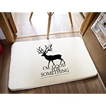 Deer Pads Floor Door Mats Hall Rugs Kitchen Bathroom Entrance Carpet (40*60cm, Milky White)