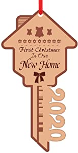 PETCEE First Christmas in Our New Home Ornaments 2020, Key-Shape New Home Christmas Tree Ornaments Decorations Gifts for Housewarming