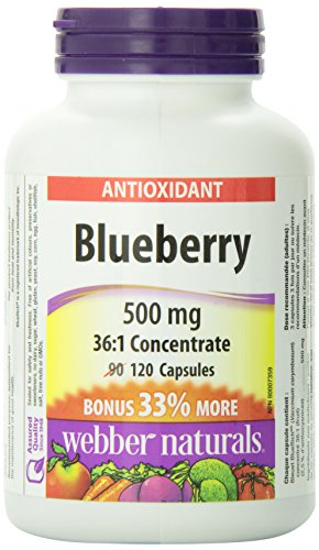 Webber Naturals Blueberry 36:1 Concentrate Capsule, 500mg 120 Capsules