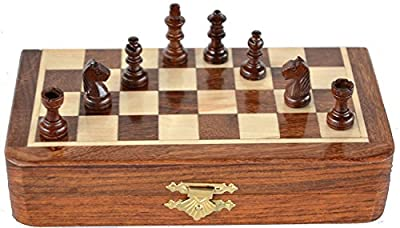 """Classic Handmade Magnetic 7"""" Inch Chess Game with storage for Pieces within the Wooden Board -"""