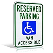 "Reflective Aluminum Handicap Reserved Parking Van Accessible Highly Visible Wheelchair Icon Metal Sign 18"" x 12"""