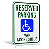 "Reflective Aluminum Handicap ""Reserved Parking Van Accessible"" Highly Visible Wheelchair Icon Metal Sign 18"" x 12"""