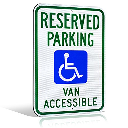 Reflective Aluminum Handicap Reserved Parking Van Accessible Highly Visible Wheelchair Icon Metal Sign 18