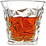 Unique Diamond Cut Whiskey Glasses Set Of 4 By ELIDIMC, 10 OZ Crystal Ultra Bourbon Glasses With Luxury Gift Box, 100% Lead Free Whiskey Glass For Bourbon, Scotch, Cocktail, Irish Whisky, Blantons