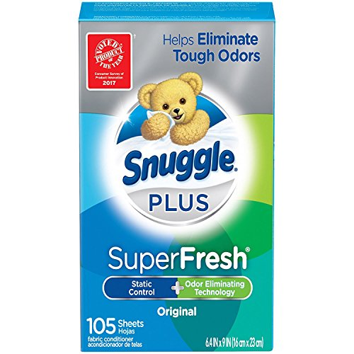 Snuggle Plus Super Fresh Fabric Softener Dryer Sheets with Static Control and Odor Eliminating Technology, 105 Count (Packaging May Vary) - Pack of 6 by Snuggle S