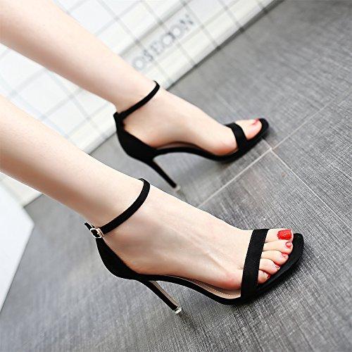 Boucle Chaussures Femmes Sandales Avec Couleur Talon Unie Un Mot Fine Shoeshaoge Romain Talons Noir 0q8xnzxB
