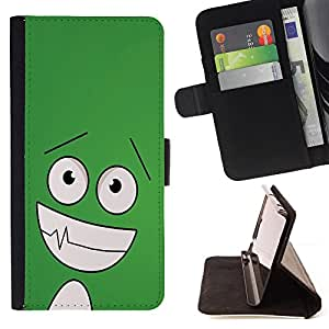 DEVIL CASE - FOR HTC One M7 - Funny Happy Face - Style PU Leather Case Wallet Flip Stand Flap Closure Cover