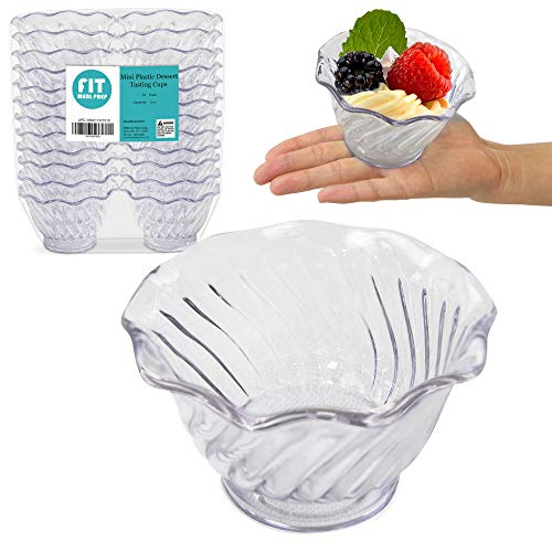 [24 Pack] Plastic Dessert Cups 5 oz - Clear Mini Ice Cream Sundae Tasting Bowls, Individual Swirl Tulip Shape Dish Holder, Salad Appetizer Chocolate Candy Serving in Party Buffet, Commercial Home Use