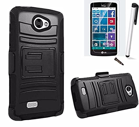 For LG Optimus Zone 3 Phone Case (Verizon) Advanced Armor Impact Hybrid Soft Silicone Cover Hard Plastic Kick Stand with Belt Clip Holster+Screen Protector+Stylus (Lg Optimus Cell Phone Holster)