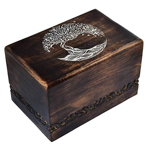 "Fine Craft India Solid Hand Carved Fine Natural Wood with Border Design - Adult (Large Wooden Urn) Height: 6"" Length: 9"" Width: 6"""