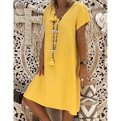 Mosstars De Corto Ocasional Mujeres Femenino Pollera Estilo Algodón Vestidos Fiesta vestido Vestido 2019 Amarillo Baño Mujer Faldas Casual Verano Zrftqr