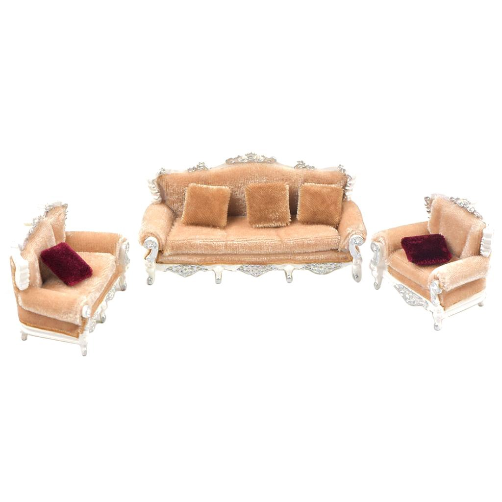Homyl 1/25 European Style Sofa Model DIY Layout Scene Parts Accessories DIY Grey