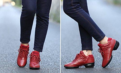 YouPue Damen Tanzschuhe Sneaker Lace-Up PU Leder Tanztrainer Weicher Sohle Freizeit Schuhe Einfarbig Rot