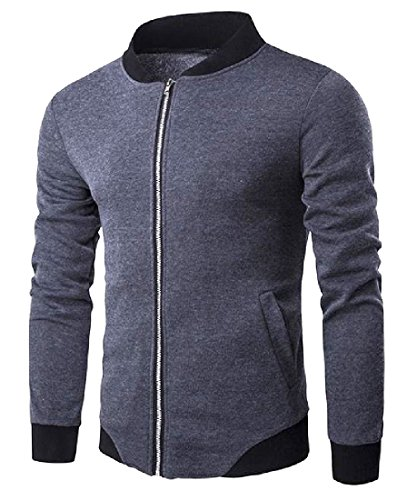 Dark Men Outwear Slim Grey Cotton Casual Full Zip Flap Howme Blend Pockets xvOBFwg