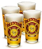 Pint Glasses – Firefighter Gifts for Men or Women – Volunteer Firefighter Beer Glassware – Beer Glasses with Logo - Set of 4 (16 Oz)