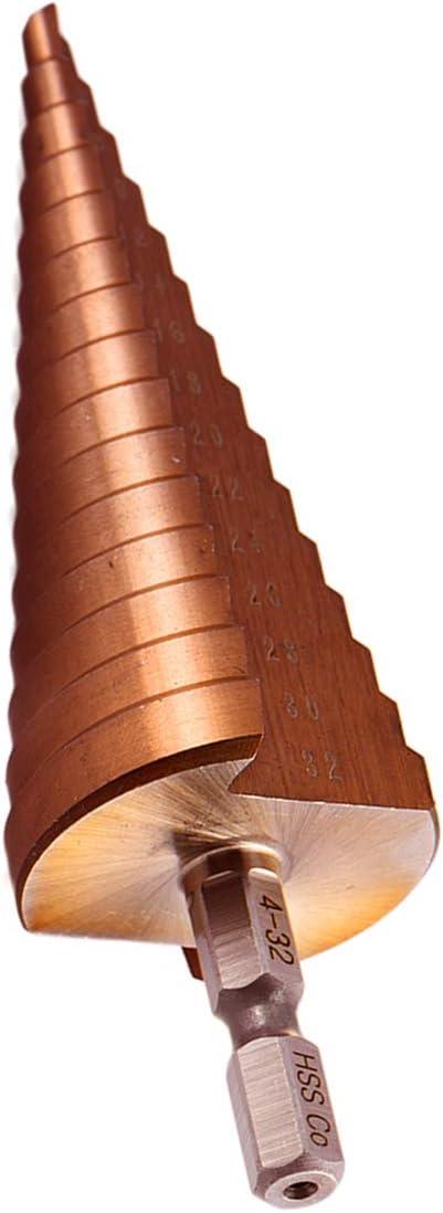 Mengshen HSS M35 Punte a Gradini 4-32mm Cobalto Set Punte per Trapani Hex Shank Straight Slot Large Bit Pagoda Foro di Perforazione Alesatore per Foratura Svasatura Taglio Enlarge Acciaio Inox