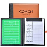 Firelong Football Soccer Coaches Tactics Board PU Leather Cover, Dry-erase Strategy Board With NotePage