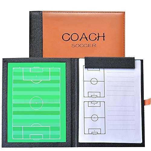 (Firelong Football Soccer Coaches Tactics Board PU Leather Cover, Dry-erase Strategy Board With)