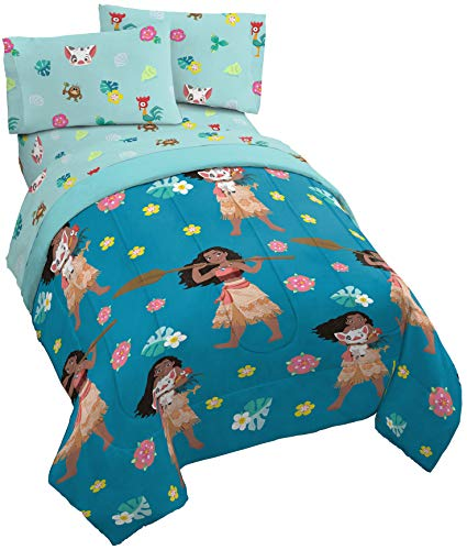 Jay Franco Disney Moana Flower Power 4 Piece Twin Bed Set - Includes Reversible Comforter & Sheet Set - Super Soft Fade Resistant Polyester - (Official Disney Product)