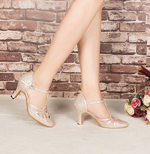 F & M piel sintética para mujer Mid tacón Salsa Tango salón de baile zapatos de baile latino Party CM101 8cm Champagne