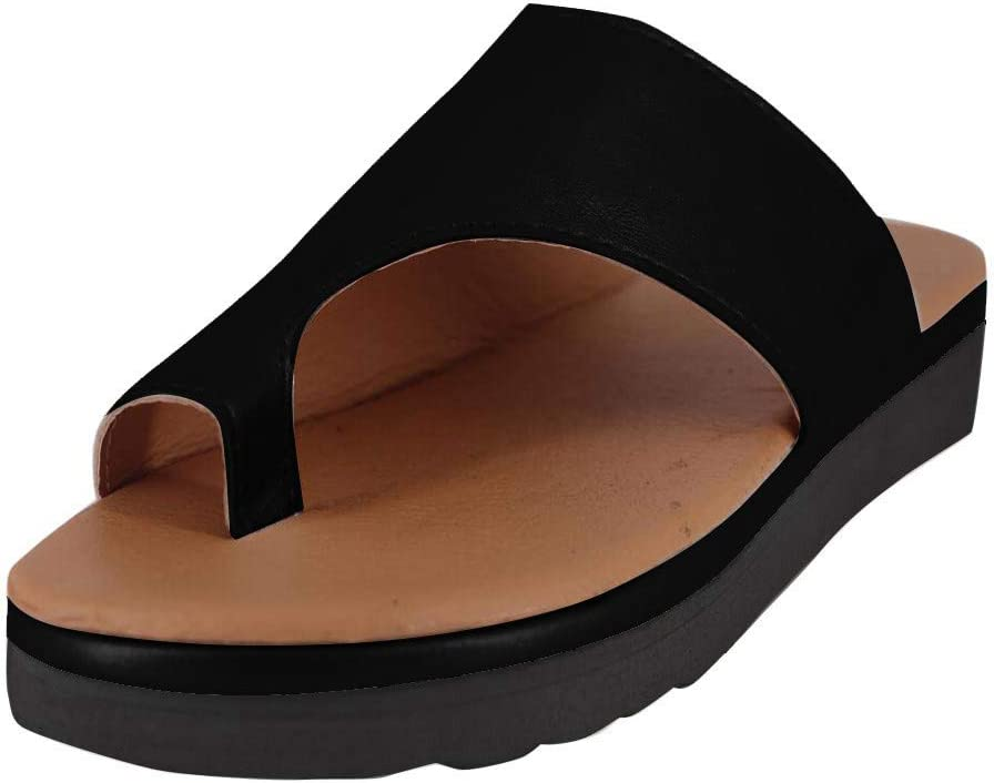 VEZARON Original Orthotic Comfort Open Toe Ankle Style Sandals /& Flip Flops for Women with Arch Support for Comfortable Walk 38, Black