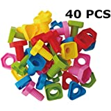 Jumbo Nuts and Bolts Set with Toy Storage and Book | Montessori Toddler Rainbow Matching Game Activities | Fine Motor Skills Autism Educational Toys for Baby, 1, 2, 3 Year Old Boy and Girl | 40pcs