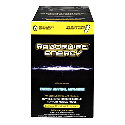 RAZORWIRE ENERGY A Healthy alternative to energy drinks ENERGY IN A CAPSULE 1 Capsule = over 1 can of 8.4fl oz Energy Drink 12 packs = 66 Cans of 8.4fl oz Energy Drinks GMO FREE 12 x 4 Capsules