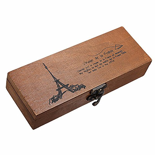 Retro Eiffel Tower Storage Box Wood Wooden Pen Pencil Case Coin Stationery Wooden Storage Box by -