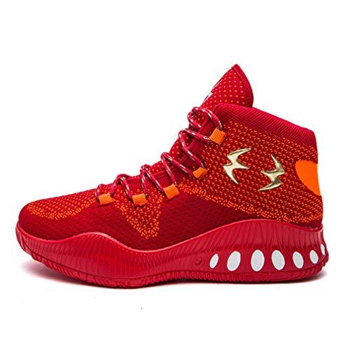 表面役立つスリチンモイメンズバスケットボールシューズ高トップニット大型サイズの靴耐摩耗性滑り止めスニーカーファッションレースアップ男性靴,D,43