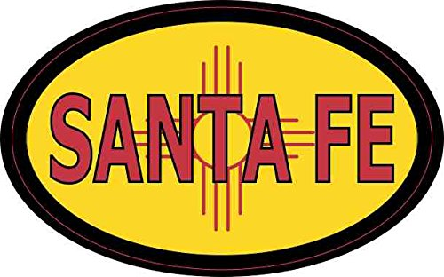 - 4in x 2.5in Oval New Mexico Flag Santa Fe Sticker