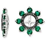 ICE CARATS 925 Sterling Silver Created Green Emerald Black Sapphire Earrings Jacket Birthstone May Fine Jewelry Gift Set For Women Heart