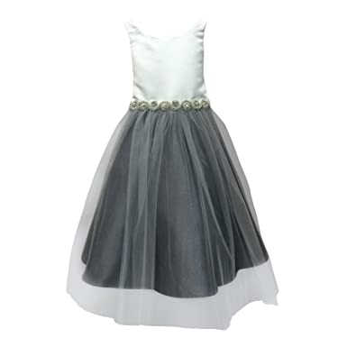 18f54c5333 Petite Adele Big Girls Ivory Grey Satin Rhinestone Tulle Occasion Dress 7-8