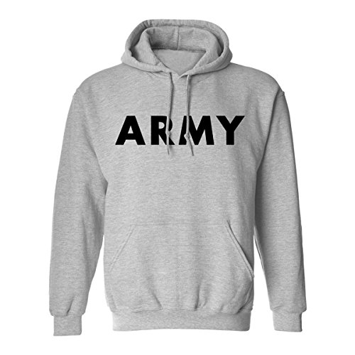 (Army Hooded Sweatshirt in Gray - Large)