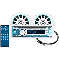 BOSS Audio MCK762BRGB.6 Receiver / Speaker Package, Bluetooth, CD/MP3/USB/SD AM/FM Marine Stereo, Detachable Front Panel, Wireless Remote, Two 6.5 Inch Speakers, Antenna