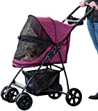 Pet Gear No-Zip Happy Trails Lite Pet Stroller, with Zipperless Entry, Boysenberry