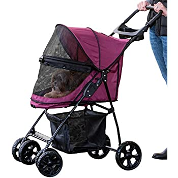 Pet Gear No-Zip Happy Trails Lite Pet Stroller, Zipperless Entry, Boysenberry