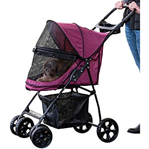 Pet Gear No-Zip Happy Trails Lite Pet Stroller for Cats/Dogs, Zipperless Entry, Easy Fold with Removable Liner, Storage Basket + Cup Holder 103
