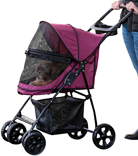 Pet Gear No-Zip Happy Trails Lite Pet Stroller for Cats/Dogs, Zipperless Entry, Easy Fold with Removable Liner, Storage Basket + Cup Holder