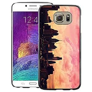 Supergiant (City Skyline Pink Yellow Nyc Sunset) Impreso colorido protector duro espalda Funda piel de Shell para Samsung Galaxy S6
